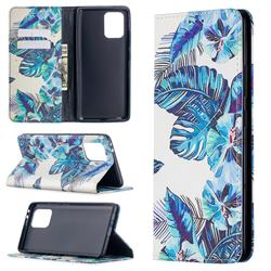 Blue Leaf Slim Magnetic Attraction Wallet Flip Cover for Samsung Galaxy A91