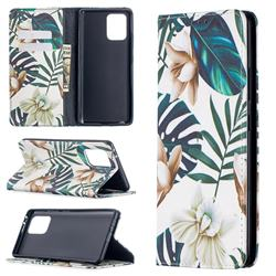 Flower Leaf Slim Magnetic Attraction Wallet Flip Cover for Samsung Galaxy A91