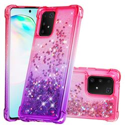Rainbow Gradient Liquid Glitter Quicksand Sequins Phone Case for Samsung Galaxy A91 - Pink Purple