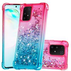 Rainbow Gradient Liquid Glitter Quicksand Sequins Phone Case for Samsung Galaxy A91 - Pink Blue