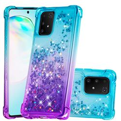 Rainbow Gradient Liquid Glitter Quicksand Sequins Phone Case for Samsung Galaxy A91 - Blue Purple