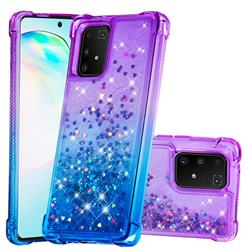 Rainbow Gradient Liquid Glitter Quicksand Sequins Phone Case for Samsung Galaxy A91 - Purple Blue