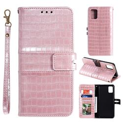 Luxury Crocodile Magnetic Leather Wallet Phone Case for Samsung Galaxy A91 - Rose Gold