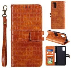 Luxury Crocodile Magnetic Leather Wallet Phone Case for Samsung Galaxy A91 - Brown