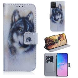 Snow Wolf PU Leather Wallet Case for Samsung Galaxy A91