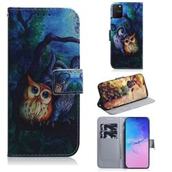 Oil Painting Owl PU Leather Wallet Case for Samsung Galaxy A91