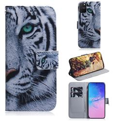 White Tiger PU Leather Wallet Case for Samsung Galaxy A91