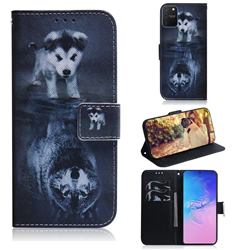 Wolf and Dog PU Leather Wallet Case for Samsung Galaxy A91