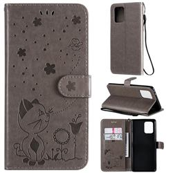 Embossing Bee and Cat Leather Wallet Case for Samsung Galaxy A91 - Gray