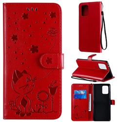 Embossing Bee and Cat Leather Wallet Case for Samsung Galaxy A91 - Red