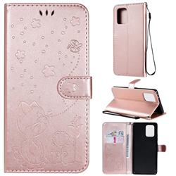 Embossing Bee and Cat Leather Wallet Case for Samsung Galaxy A91 - Rose Gold