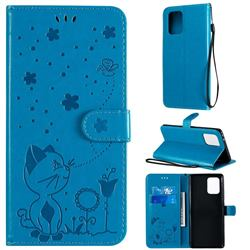 Embossing Bee and Cat Leather Wallet Case for Samsung Galaxy A91 - Blue
