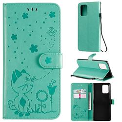Embossing Bee and Cat Leather Wallet Case for Samsung Galaxy A91 - Green