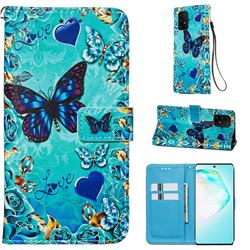 Love Butterfly Matte Leather Wallet Phone Case for Samsung Galaxy A91