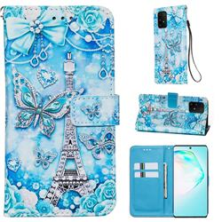 Tower Butterfly Matte Leather Wallet Phone Case for Samsung Galaxy A91