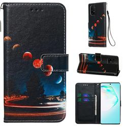 Wandering Earth Matte Leather Wallet Phone Case for Samsung Galaxy A91