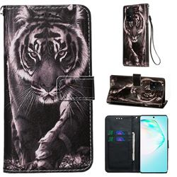 Black and White Tiger Matte Leather Wallet Phone Case for Samsung Galaxy A91