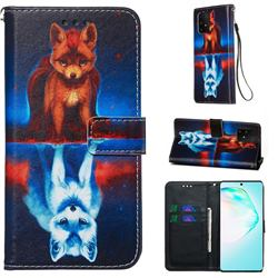 Water Fox Matte Leather Wallet Phone Case for Samsung Galaxy A91