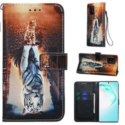 Cat and Tiger Matte Leather Wallet Phone Case for Samsung Galaxy A91
