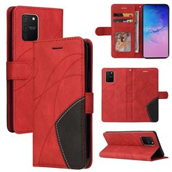 Luxury Two-color Stitching Leather Wallet Case Cover for Samsung Galaxy A91 - Red
