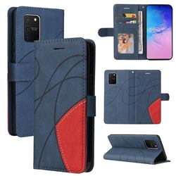 Luxury Two-color Stitching Leather Wallet Case Cover for Samsung Galaxy A91 - Blue