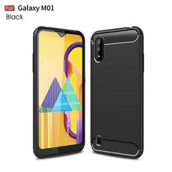 Luxury Carbon Fiber Brushed Wire Drawing Silicone TPU Back Cover for Samsung Galaxy M01 - Black