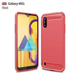 Luxury Carbon Fiber Brushed Wire Drawing Silicone TPU Back Cover for Samsung Galaxy M01 - Red