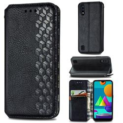 Ultra Slim Fashion Business Card Magnetic Automatic Suction Leather Flip Cover for Samsung Galaxy M01 - Black