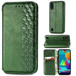 Ultra Slim Fashion Business Card Magnetic Automatic Suction Leather Flip Cover for Samsung Galaxy M01 - Green