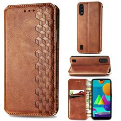 Ultra Slim Fashion Business Card Magnetic Automatic Suction Leather Flip Cover for Samsung Galaxy M01 - Brown