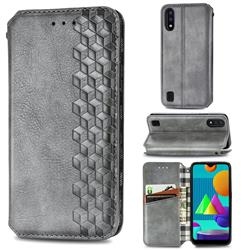 Ultra Slim Fashion Business Card Magnetic Automatic Suction Leather Flip Cover for Samsung Galaxy M01 - Grey