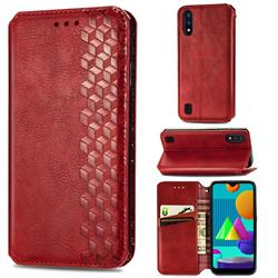 Ultra Slim Fashion Business Card Magnetic Automatic Suction Leather Flip Cover for Samsung Galaxy M01 - Red
