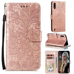 Intricate Embossing Lace Jasmine Flower Leather Wallet Case for Samsung Galaxy M01 - Rose Gold