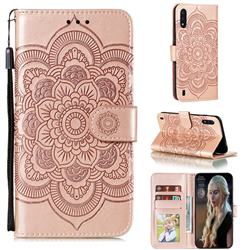 Intricate Embossing Datura Solar Leather Wallet Case for Samsung Galaxy M01 - Rose Gold