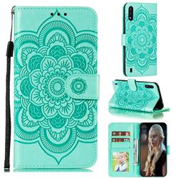 Intricate Embossing Datura Solar Leather Wallet Case for Samsung Galaxy M01 - Green