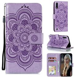 Intricate Embossing Datura Solar Leather Wallet Case for Samsung Galaxy M01 - Purple