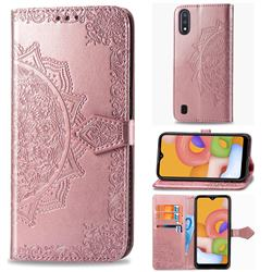 Embossing Imprint Mandala Flower Leather Wallet Case for Samsung Galaxy M01 - Rose Gold