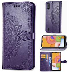 Embossing Imprint Mandala Flower Leather Wallet Case for Samsung Galaxy M01 - Purple