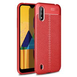 Luxury Auto Focus Litchi Texture Silicone TPU Back Cover for Samsung Galaxy M01 - Red