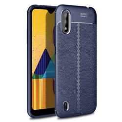 Luxury Auto Focus Litchi Texture Silicone TPU Back Cover for Samsung Galaxy M01 - Dark Blue
