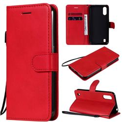 Retro Greek Classic Smooth PU Leather Wallet Phone Case for Samsung Galaxy M01 - Red