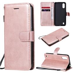 Retro Greek Classic Smooth PU Leather Wallet Phone Case for Samsung Galaxy M01 - Rose Gold