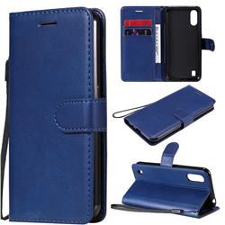 Retro Greek Classic Smooth PU Leather Wallet Phone Case for Samsung Galaxy M01 - Blue