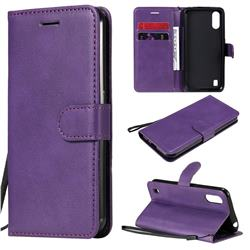 Retro Greek Classic Smooth PU Leather Wallet Phone Case for Samsung Galaxy M01 - Purple