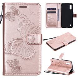 Embossing 3D Butterfly Leather Wallet Case for Samsung Galaxy M01 - Rose Gold