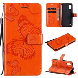 Embossing 3D Butterfly Leather Wallet Case for Samsung Galaxy M01 - Orange