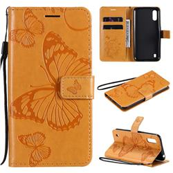Embossing 3D Butterfly Leather Wallet Case for Samsung Galaxy M01 - Yellow