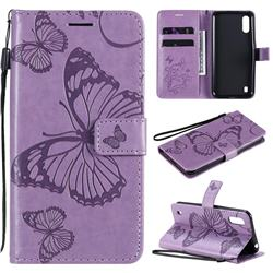 Embossing 3D Butterfly Leather Wallet Case for Samsung Galaxy M01 - Purple