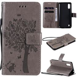 Embossing Butterfly Tree Leather Wallet Case for Samsung Galaxy M01 - Grey