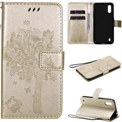 Embossing Butterfly Tree Leather Wallet Case for Samsung Galaxy M01 - Champagne